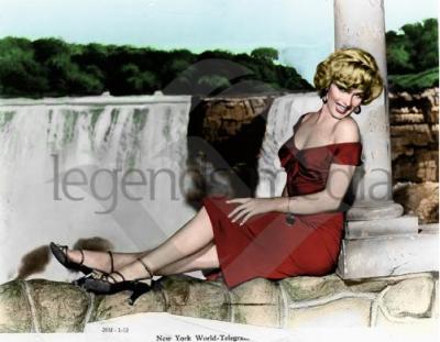 sur le set du film Niagara en 1952
