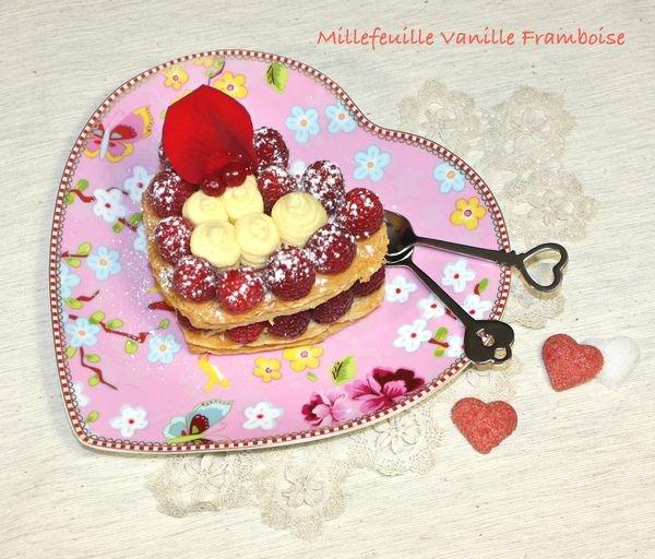 Mille feuille vanille-framboise, spécial Saint-Valentin! :)