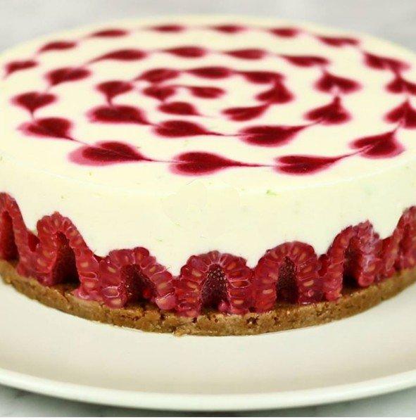 Cheesecake framboise-spéculoos
