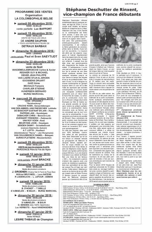Un article dans un journal la colombophilie belge