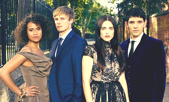 Angel Coulby & Bradley James & Katie McGrath & Colin Morgan