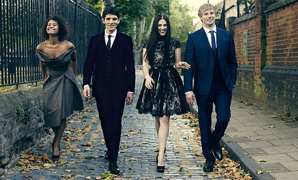 Angel Coulby & Colin Morgan & Katie McGrath & Bradley james
