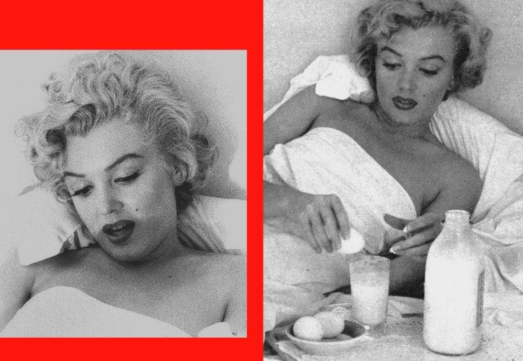 1953 / by Andre De DIENES... Marilyn dans sa chambre du Bel-Air Hotel prenant son petit déjeuner...