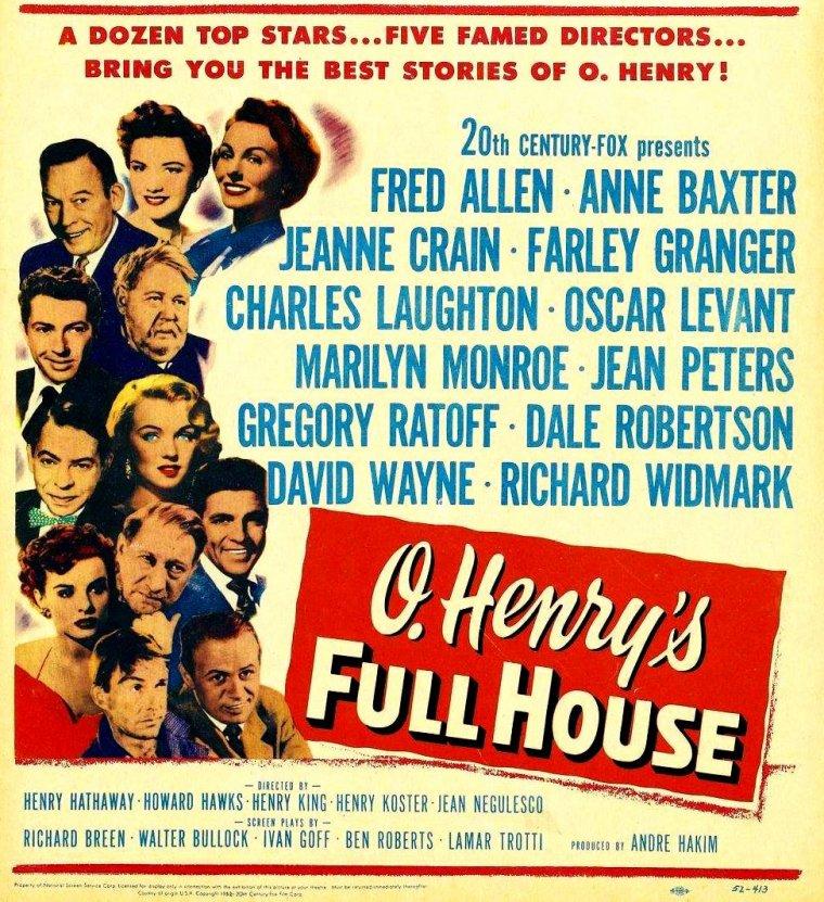 """1952 / Film """"O'Henry's full house"""" : La Fox organisa la promotion de Marilyn par l'intermédiaire de ce film reposant sur cinq histoires écrites par O. Henry (pseudonyme de William Sidney PORTER). Elle était citée en haut de l'affiche, bien qu'elle ne fît qu'une courte apparition. Au grand désespoir de son fiancé, Joe DiMAGGIO, Marilyn incarnait une prostituée dans la première des cinq histoires, intitulée « The cop and the anthem », au côté de Charles LAUGHTON. John STEINBECK tenait le rôle du narrateur."""