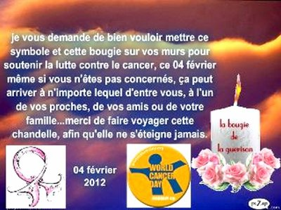 JOURNEE MONDIALE CONTRE LE CANCER.