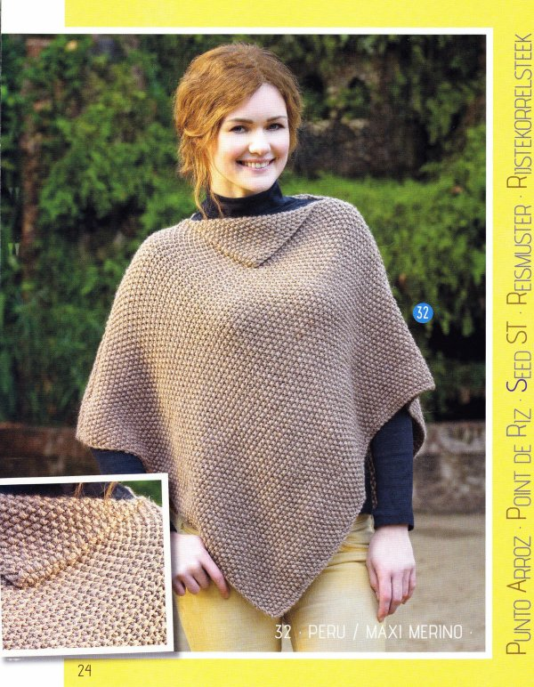 PONCHO AU TRICOT.  POINT DE RIZ