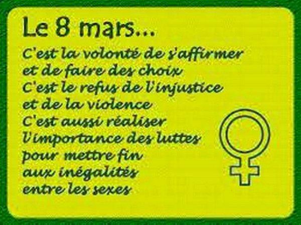 JOURNEE DE LA FEMME CE 8 MARS.
