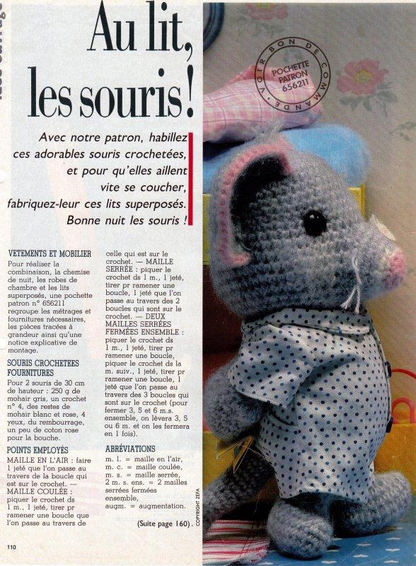 IDEES DOUDOUS POUR LA FIN D'ANNEE.     SOURIS AU CROCHET.
