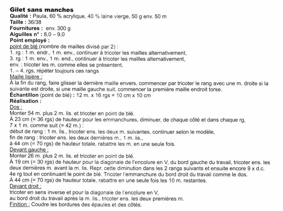 TUTO POUR LE GILET SANS MANCHES AU TRICOT