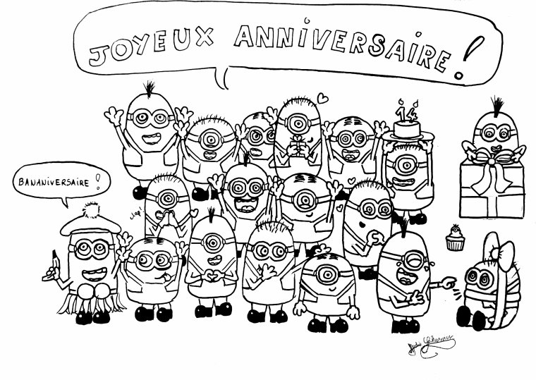 Articles de ribka tagg s minion - Joyeux anniversaire a colorier ...