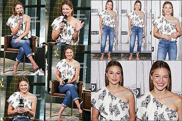 * 19/06/18 :    Melissa Benoist était invitée dans les studios de l'émission - « Build Studio », qui se trouve à New York. Plus tard, Melissa B. a été vue quittant les studios de l'émission et posant avec dans fans dans les rues de New York. Je lui donne un Top pour sa tenue.  *