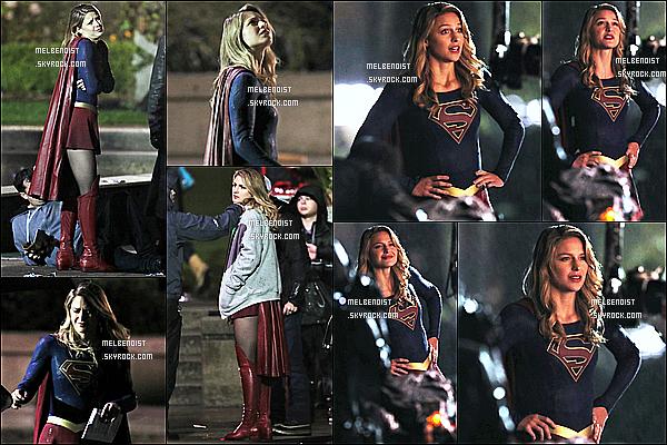 * 21/09/18 :    Melissa a été aperçue quand elle tournait une scène pour la série « Supergirl », à  Vancouver au Canada. Après une petite pause, Melissa reprend le tournage de la série Supergirl. Elle est jolie. Elle porte comme à son habitude son fameux costume - Un Top !  *