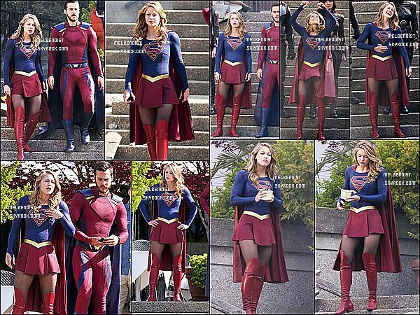 * 02/05/18 :    Melissa a été vue, tournant plusieurs scènes pour la saison 3 de la série « Supergirl » - dans Vancouver. Après un mois de repos, Melissa reprend le tournage de la série toujours à Vancouver, au Canada. Melissa Benoist était superbe. Top pour son costume.  *