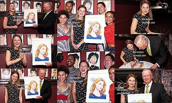 * 31/07/18 :    Melissa Benoist a assité à l'événement « Caricature Unveiled » au Sardi's qui se trouve dans New York. Melissa est toute ravissante et vraiment souriante, ça fait plaisir de la voir comme ça. J'aime beaucoup la robe qu'elle porte, elle lui va à merveille. Un Top  *