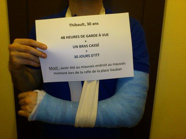La police politique de Valls casse le bras d'un simple manifestant