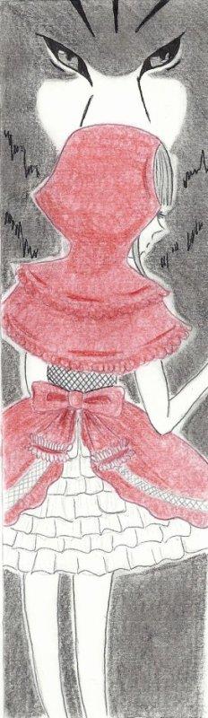 Feuille à Fiction : Tout drapée de rouge. (Adaptation du Petit Chaperon Rouge.)
