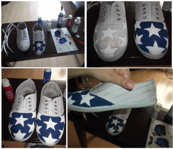USA shoes time... I had these dirty white shoes, i didn't liked them and i didn't know what to do with them. I wanted to put them at the garbage but happy i didn't! I DIY my shoes with fabric paint and here it goes!