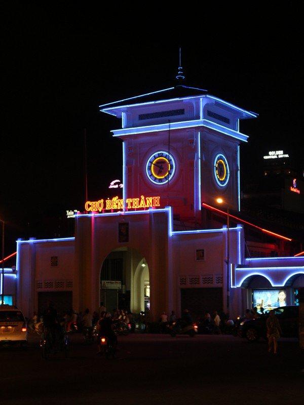 Bến Thành by night.