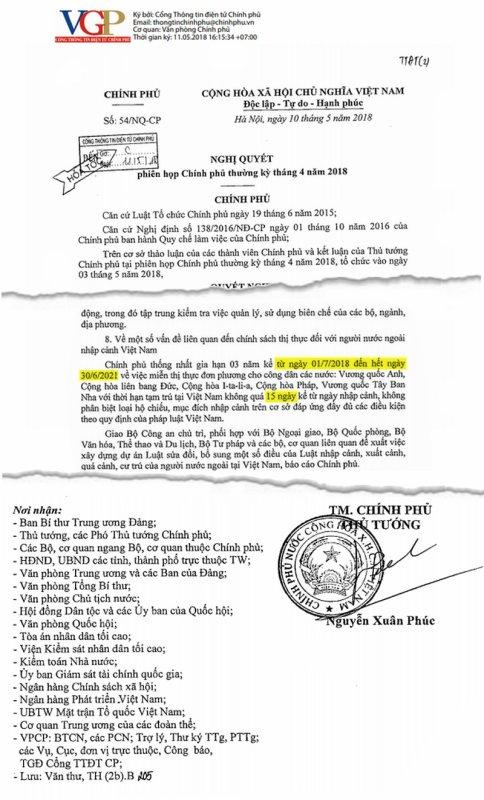 Visa pour l'état d'Hồ.