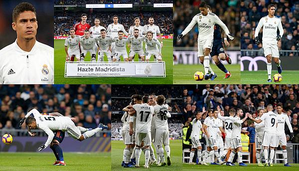 01 décembre 2018 : Notre champion Raphaël Varane était titulaire face à Valence à Santiago Bernabéu pour la Liga.   Les madrilènes se sont imposés 2-0, but de Wass (8' csc) et de Lucas Vazquez (83'). Gros match de toute l'équipe, quel plaisir ! [/font=Arial]