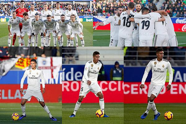 09 décembre 2018 : Raphaël Varane était donc titulaire face au club d'Huesca à El Alcoraz pour la Liga Santander.   Petite victoire sur le score de 1-0, seul but de Gareth Bale (8'). Match extrêmement difficile pour les madrilènes en 2ème période. [/font=Arial]