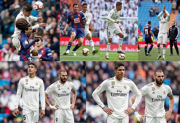 06 avril 2019 : Notre champion Raphaël Varane était donc titulaire face à Eibar à Santiago Bernabéu pour la Liga.   Les madrilènes se sont imposés 2-1, doublé du français Karim Benzema (59', 81'). Assez bon match dans l'ensemble. [/font=Arial]