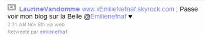 Emilie NefNaf a Visité mon Blog !