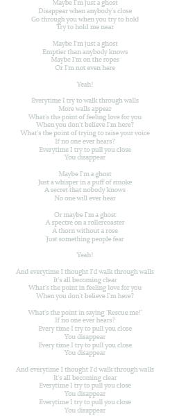 Coldplay ~ Ghost Story À chaque fois que je tente de traverser les murs, Plus de murs apparaissent.
