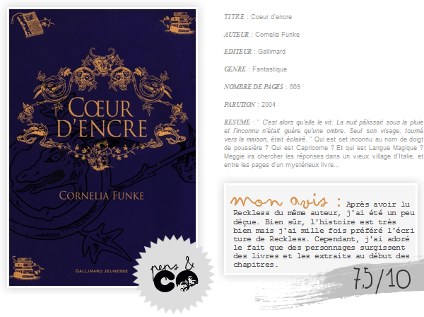 . Coeur d'encre    , de Cornelia Funke .