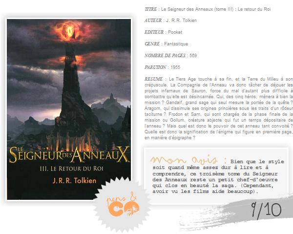 . Le Seigneur des Anneaux (tome III), de J. R. R. Tolkien .