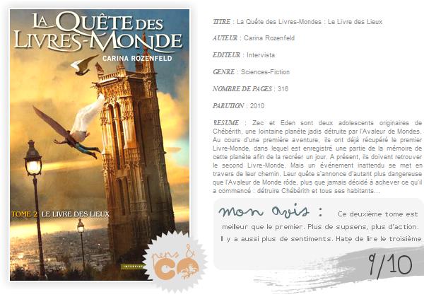 . La Quête des Livres-Mondes (tome II), de Carina Rozenfeld .
