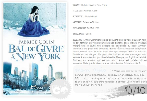 . Bal de Givre à New-York , de Fabrice Colin .