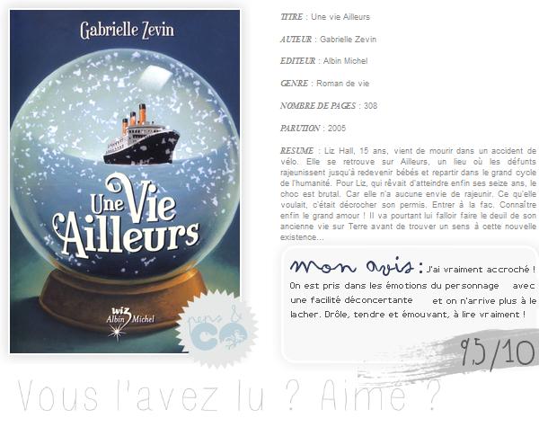 . Une vie Ailleurs, de Gabrielle Zevin .