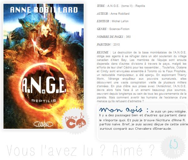 . A.N.G.E. (tome II), de Anne Robillard .