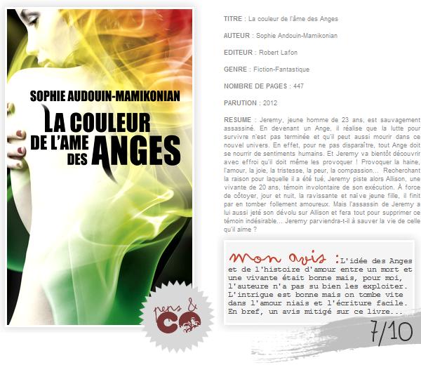 . La couleur de l'âme des Anges, de Sophie Andouin-Mamikonian .