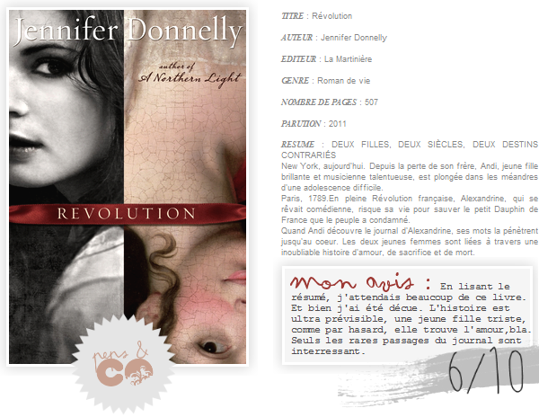 . Révolution, de Jennifer Donnelly .