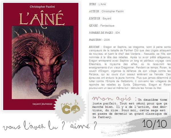 . Eragon (tome II) : L'Aîné  , de Christopher Paolini .