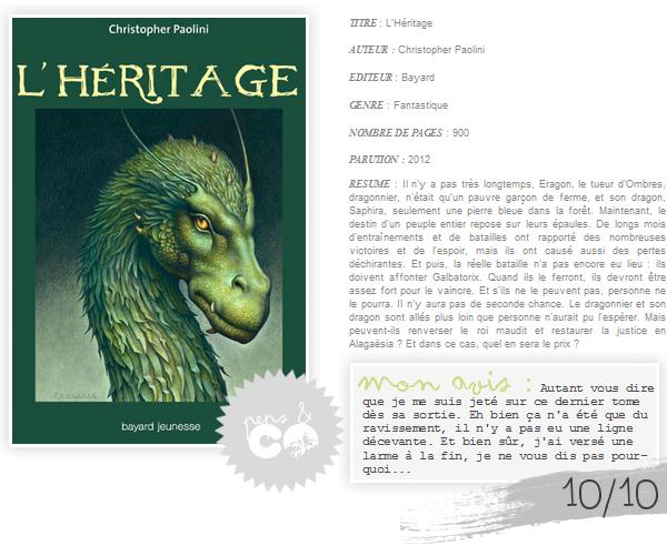 . Eragon (tome IV) : L'Héritage, de Christopher Paolini .