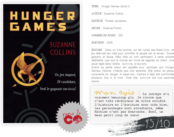 . Hunger Games (tome I), de Suzanne Collins .