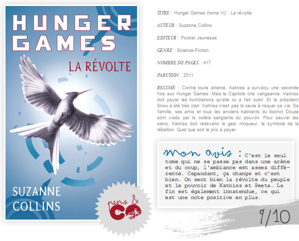 . Hunger Games (tome III), de Suzanne Collins .