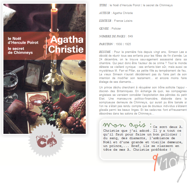 . le Noël d'Hercule Poirot | le secret de Chimneys, de Agatha Christie .
