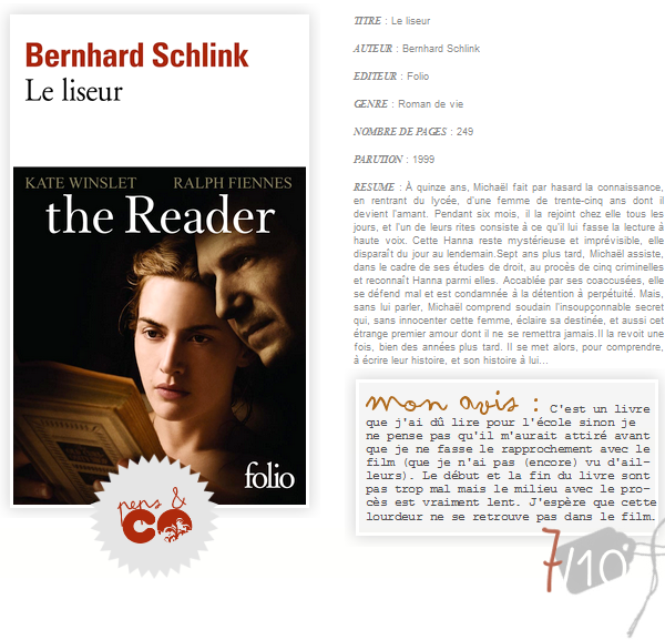 . Le liseur, de Bernhard Schlink .