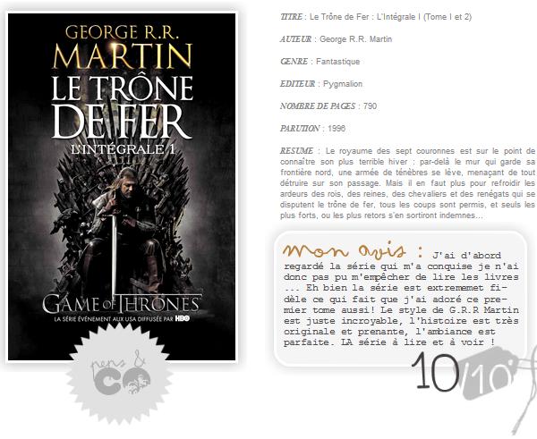 . Le Trône de Fer : Intégrale I, de Georges R.R. Martin .