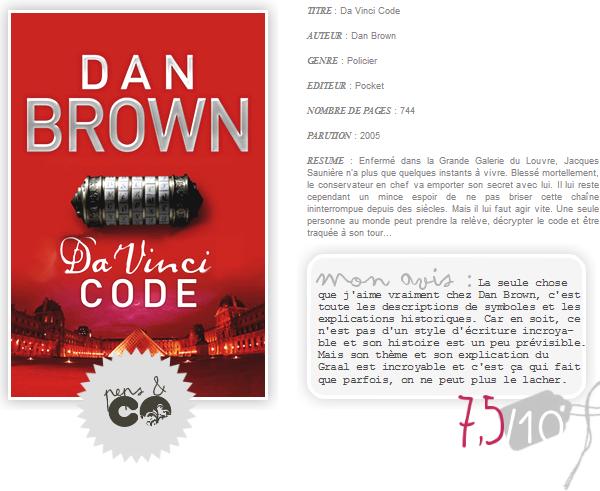 . Da Vinci Code, de Dan Brown .