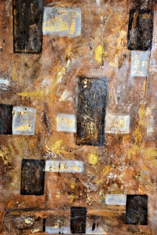 148 de brun or blanc peinture mixte