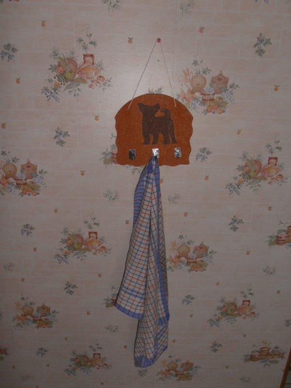 Porte torchons ou porte clefs bois motif chihuahua