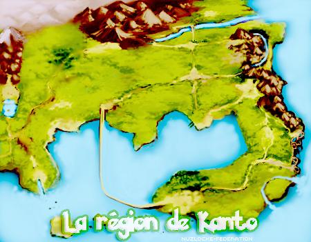 La région de Kanto, ses routes, ses villes, ses arènes et ses Pokemons.