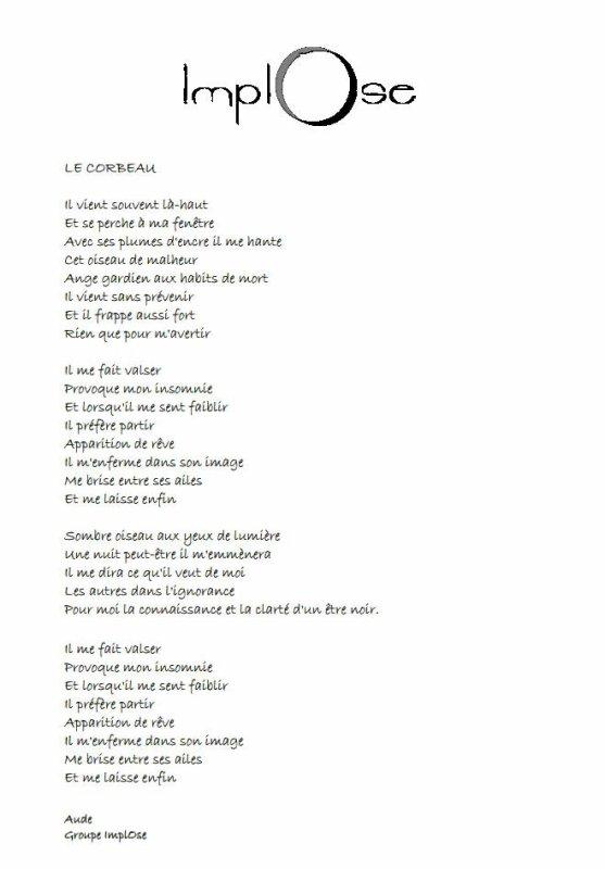 ImplOse Le Corbeau un de mes tout premier texte