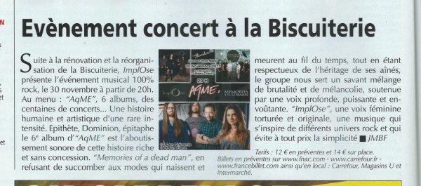 Notre concert avce Aqme le 30/11 dans les journaux