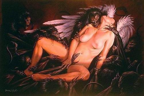 Une petite image de Lilth avec L'ange de la mort, Samael